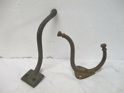 Two vintage bronze Victorian style coat hooks