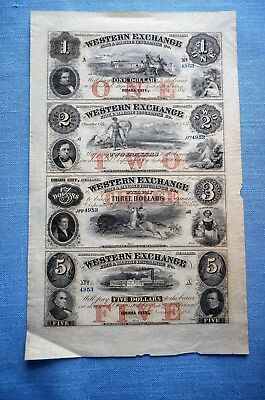 Uncut Sheet of Western Exchange Fire & Marine Insurance Co., Omaha, Nebraska