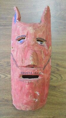 Vintage Orig Hand Carved Dance Mask Central America Mexico Elongated Red Face