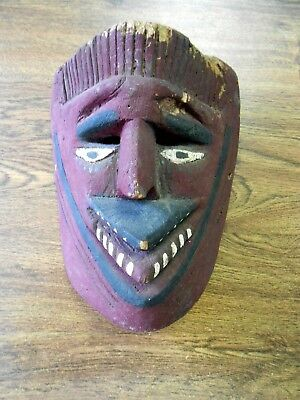 Vintage Orig Hand Carved Dance Mask Central America Mexico Red Tribal Face