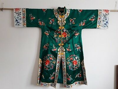 Stunning Vintage Chinese Flower Embroidery Forbidden Stitch Green Imperial Silk