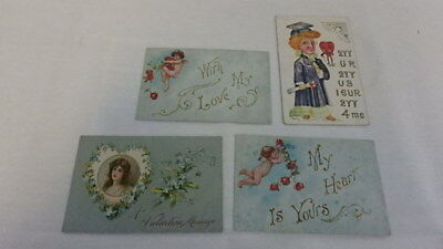 Antique Lot of 4 Victorian Valentine's Day Postcards Dated 1908 Embossed