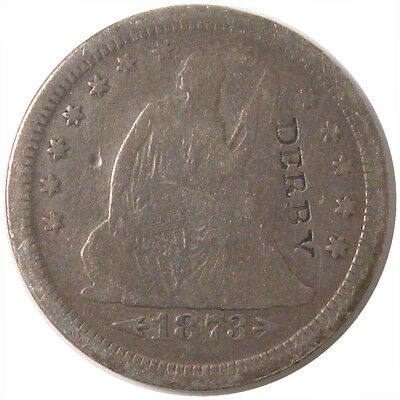 1873-S Seated Liberty Quarter With Arrows Counter Stamped DERBY