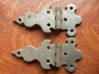 Two Antique Vintage Nickel-Plated Brass Gate or Cupboard Door Hinges Offset