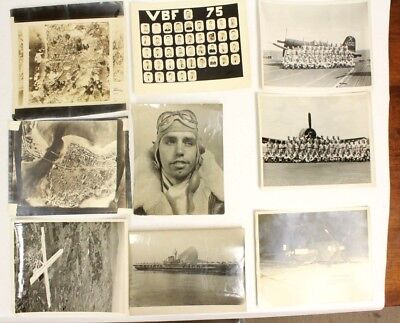 Lot of Nine Vintage WWII Photographic Pictures From A Former US Navy Pilot