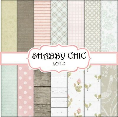 SHABBY CHIC - LOT 4  SCRAPBOOK PAPER - 14 x A4 pages