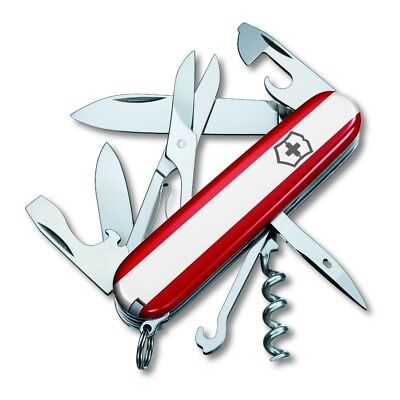 New Victorinox Swiss Army 91mm FLAG Knife  RED, WHITE & RED CLIMBER  55084.RWR