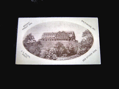 Victorian Trade Card=MOUNT HOLLY INN=J. L. FILON-Proprietor=BALTIMORE MD.