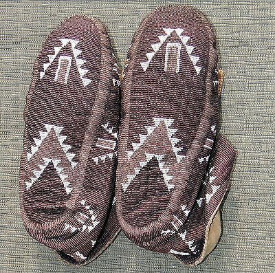 Vintage American Indian Fully Beaded Cermonial Moccasins Sioux