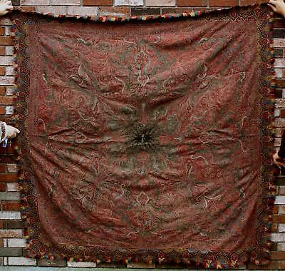 Antique 19thC Signed Hand Sewn & Woven Kashmir Paisley Coverlet Shawl, NR
