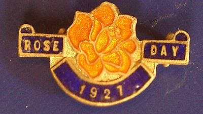 1927 Rose Day Fundraising Badge by Stokes & Sons Melbourne 30 x 20mm