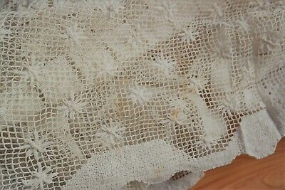 Vintage Lace Tablecloth Hand Net Embroidery