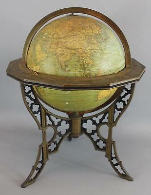 1890s Antique Large 12-inch Andrews Terrestrial Globe w/ Gothic Cast Iron Base