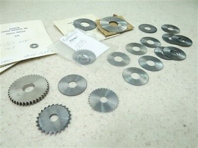 """22Pc Assorted Micro Milling Cutters .006"""" To 5/32"""" Widths 1/8"""" To 5/16"""" Bores"""