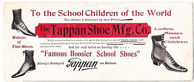 Early 1900's Advertising Blotter: Tappan Shoe Mfg. Co.  Coldwater Michigan