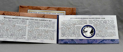 2012 Making American History Coin and Currency Set Silver Proof Eagle and $5!