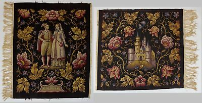 2 Antique Victorian Wool Embroidery Early Tapestries Castle Figures Design