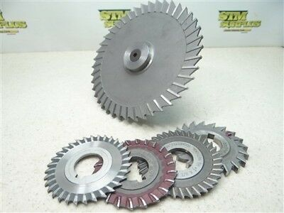 """Lot Of 5 Hss Slitting Slotting Saws 5/64"""" To 1/4"""" Widths W/ Arbor 1"""" Bores"""