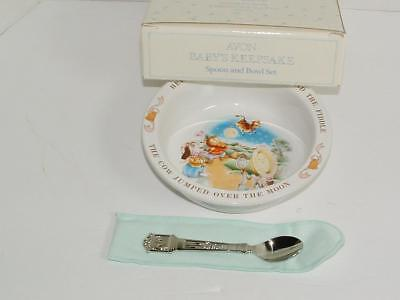 New Avon Baby's Vintage Spoon Bowl Set Hey Diddle Diddle & Hickory Dickory Dock