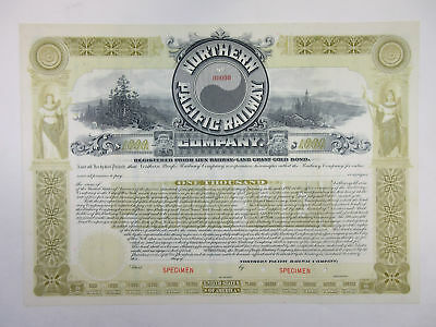 WI. Northern Pacific Railway Co., 1896 $1,000 Specimen 4% Registered Bond, XF