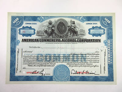 MD. American Commercial Alcohol Corp, 1920s <100 Shrs Specimen Stock Certificate