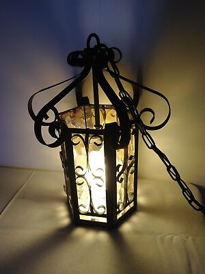 Vintage Wrought Iron Art Spanish Revival Gothic Electric chandelier amber SALE