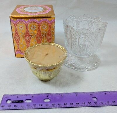 Avon PATCHWORK Fragrance Candle Unburned in Fostoria Glass Crystal Holder in box