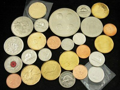 Lot of 26 Modern Canada Coins 1960s-2010 - Proof & BU - Cents thru Dollars