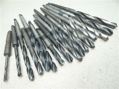 """Lot Of 16 Hss 1Mt Taper Shank Drills 3/16"""" To 17/32"""" Cle-Forge Morse National"""