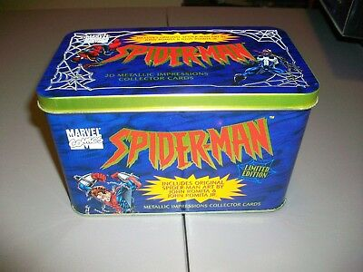 1996 Marvel Spider-Man Metal Impressions embossed cards in tin
