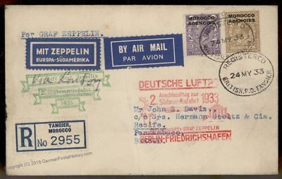 UK British Morocco 1933 Graf Zeppelin Si214 2 SAF Connecting Flight Cover 86480
