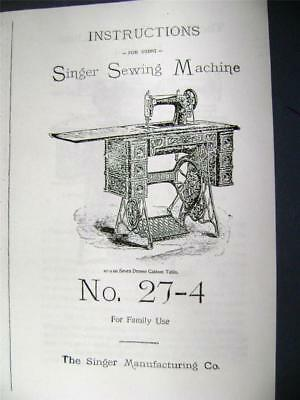 Singer Treadle Sewing Machine Manual for Model 27-4 1905, others Free Shipping !