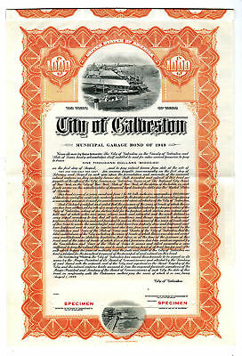 City of Galveston, 1949 Specimen Bond