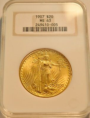 1907 $20 NGC MS 63 Gold St. Gaudens Double Eagle, Old Fatty Holder, PQ Saint Unc