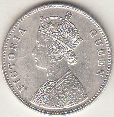 British India Victoria Queen 1862 {A-1, 0/0 Dot }Rupee Silver Coin Nr.about Unc