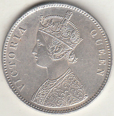 British India Victoria Queen 1862 {A-2, 0/0 Dot }Rupee Silver Coin Nr.about Unc