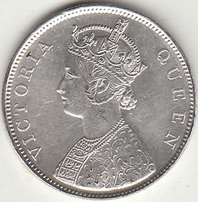 British India Victoria Queen 1862 {B-2, 2/0 Dot }Rupee Silver Coin Nr.about Unc