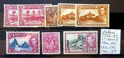 St LUCIA 1938/48 G.VI As Described Mounted Mint BJ572