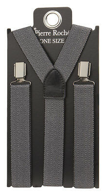 Pierre Roche Mens Patterned Braces Elastic 30mm Wide Adjustable Fashion Clip-on