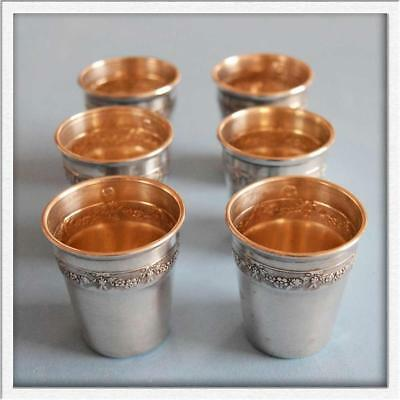 SUPERB Antique French Sterling SILVER 6 Pieces Set Tumblers Liquor Shot Cups!