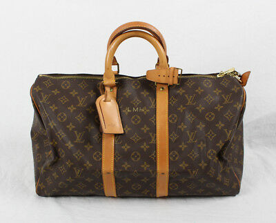 Louis Vuitton Auth Monogram Coated Canvas Keepall 45 Carry On Duffel Bag