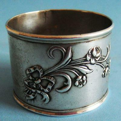 L@@k Amazing Antique Sterling SILVER Nature Flowers Daisies Plants Napkin Ring!