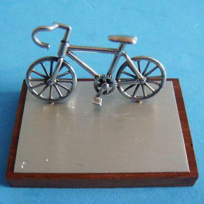L@@k Fantastic Vintage Sterling SILVER Bicycle Bike Miniature with Wood Stand!