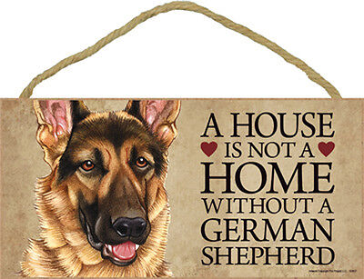 A House Is Not A Home GERMAN SHEPHERD Dog 5x10 Wood SIGN Plaque USA Made