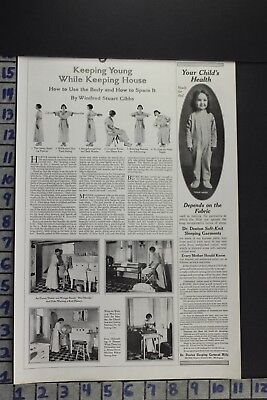 1919 Medical Women Health Beauty Exercise Wash Sewing Machine Vintage Ad Ed071