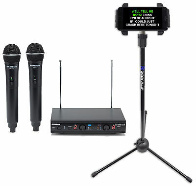 Samson Dual VHF Wireless Karaoke Vocal Microphones Mics+Tablet/Smartphone Stand