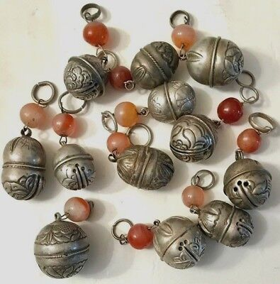 Lot Of 12 Small Antique Chinese Silver Bells W/ Carnelian Beads Qing Dynasty