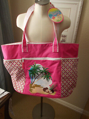 Life Is A Beach Wet Swim Suit Bag XL Tote NWT Hot Pink