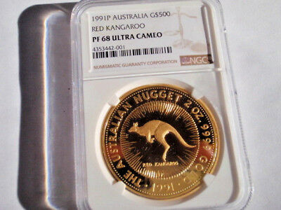 1991 P Australia Nugget $500 Two OZ. Gold Red Kangaroo NGC Proof 68 Ultra Cameo