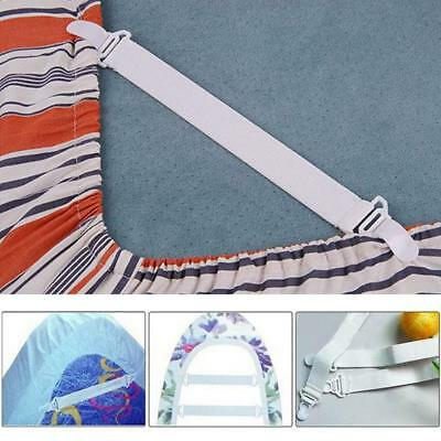 4 x Universal Size White Bed Sheet Grippers Straps Fasteners Clips Hold Elastic